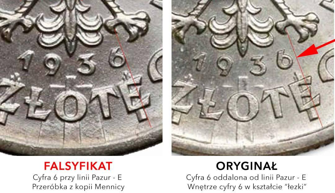 2 złote 1936 Piłsudski - układ daty na oryginale i fałszerstwie