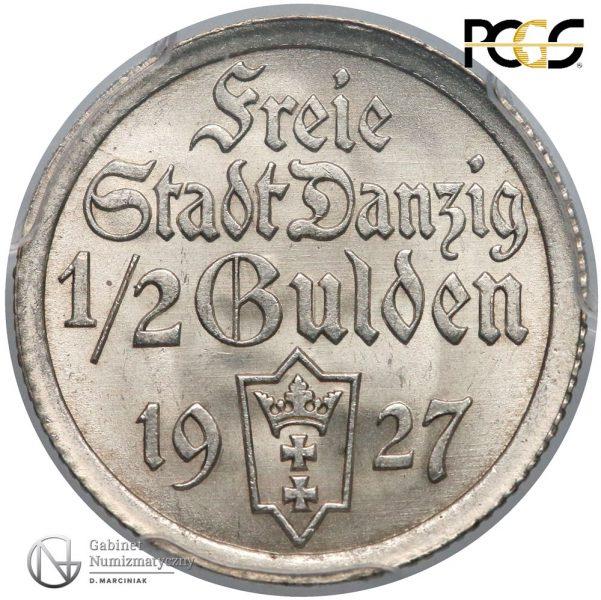Awers 1/2 guldena 1927 w ocenie PCGS MS66