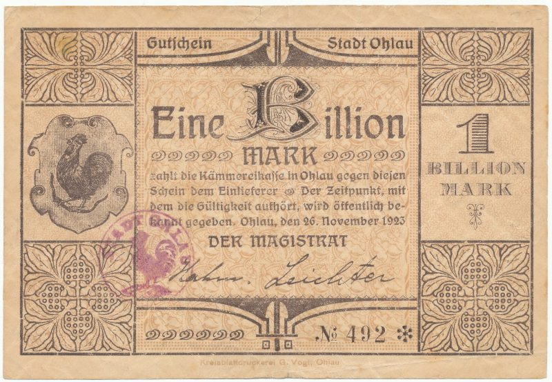 Notgeld 1 bilion marek 1923 Oława
