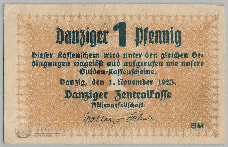 Awers banknotu 1 fenig listopad 1923 Gdańsk