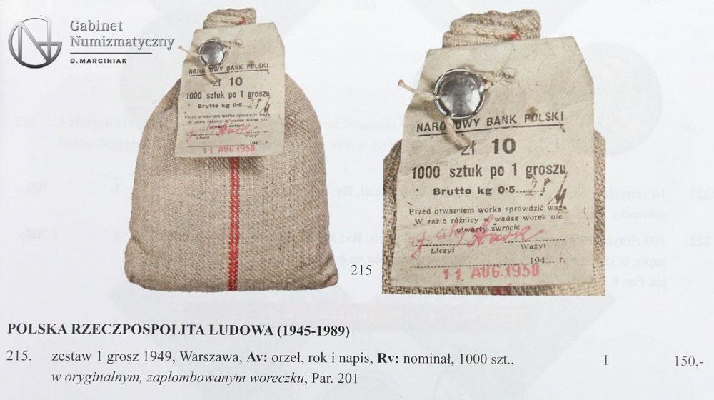 Pozycja 215 z 31 aukcji PTN zestaw 1 grosz 1949