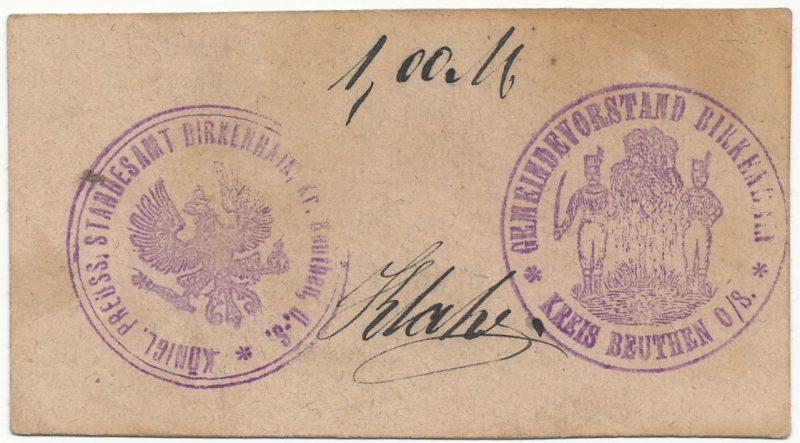 Notgeld 1 marka 1914 Brzeziny Śląskie