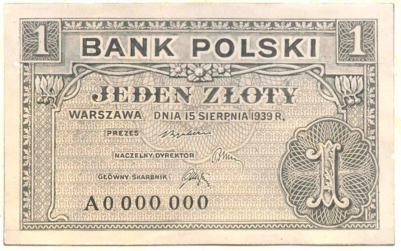 Awers banknotu 1 złoty 1939 w wersji z drobnymi różnicami względem wersji zatwierdzonej