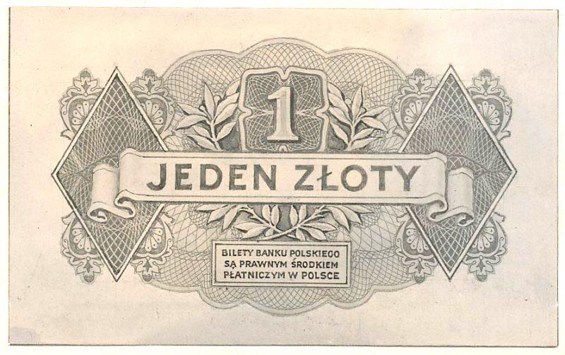 Rewers banknotu 1 złoty 1939 w wersji z drobnymi różnicami względem wersji zatwierdzonej