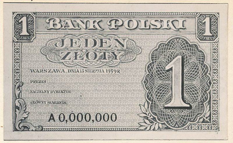 Awers banknotu 1 złoty 1939 w wersji zupełnie odmiennej od zatwierdzonej