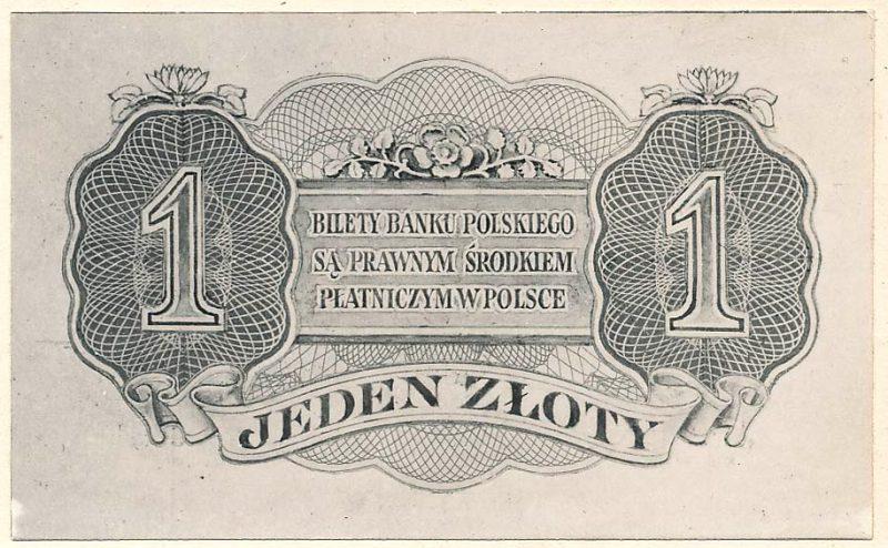 Rewers banknotu 1 złoty 1939 w wersji zupełnie odmiennej od zatwierdzonej