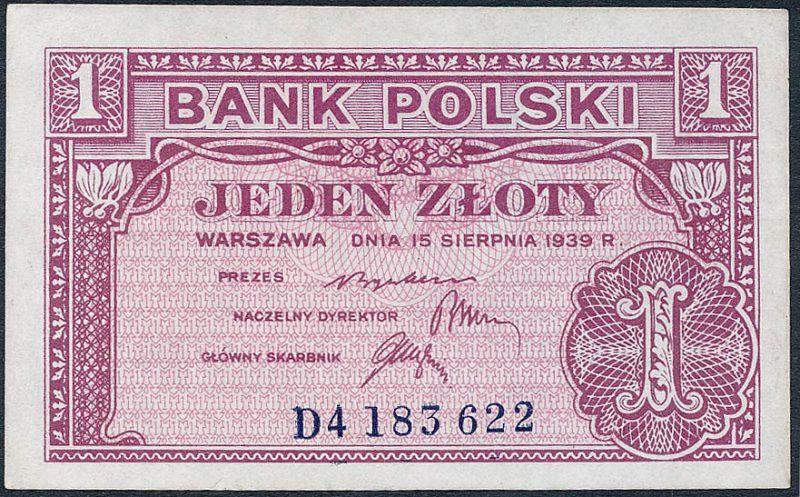 Awers zatwierdzonej wersji banknotu 1 złoty 1939