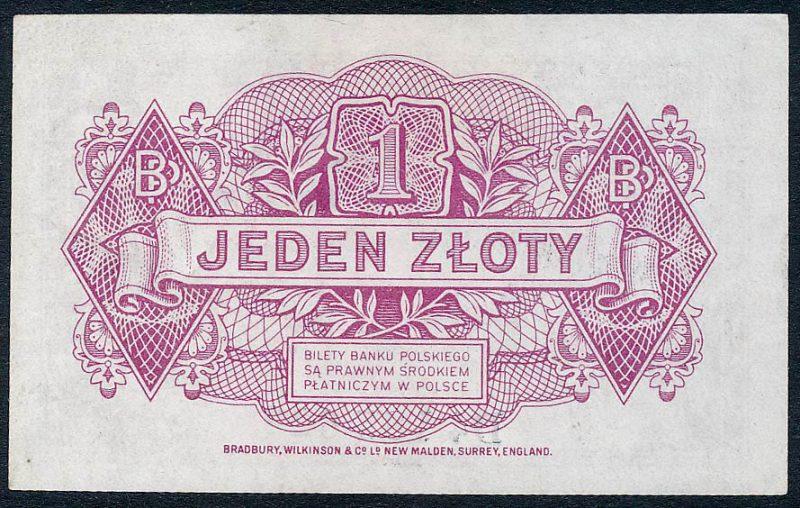 Rewers zatwierdzonej wersji banknotu 1 złoty 1939