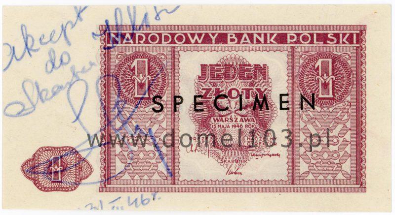 Banknot 1 złoty 1946 z nadrukiem SPECIMEN i adnotacjami akceptacyjnymi