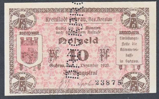 Notgeld 10 fenigów 1917-1920 magistratu w Górze z perforacją DRUCKPROBE