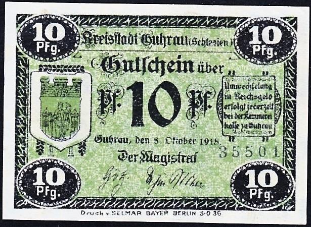 Awers notgelda 10 fenigów 1918 magistratu w Górze