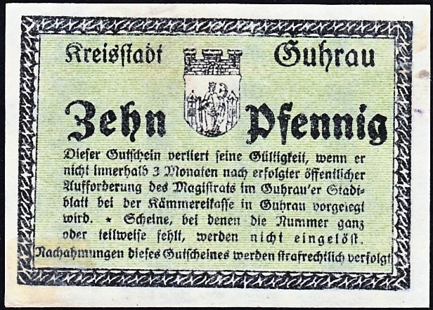 Rewers notgelda 10 fenigów 1918 magistratu w Górze