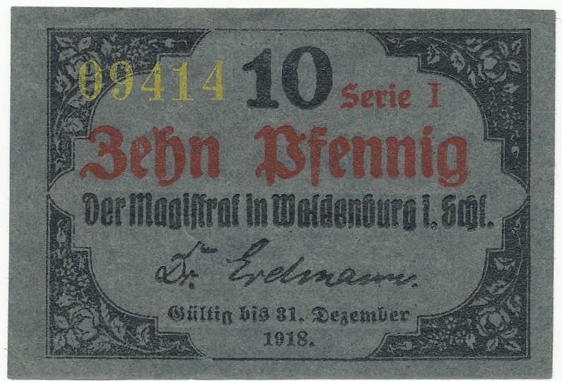 Notgeld 10 fenigów 1918 Wałbrzych