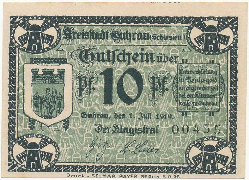 Notgeld 10 fenigów 1919 magistratu w Górze bez znaku wodnego