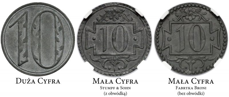 Podstawowe odmiany 10 fenigów 1920 Gdańsk