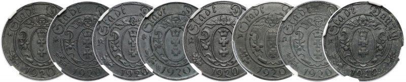 Różnorodność monet 10 fenigów 1920 Gdańsk