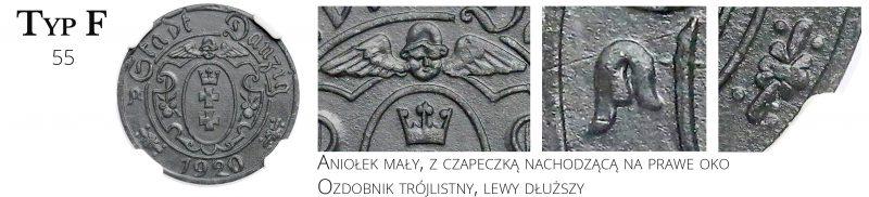 10 fenigów 1920 Gdańsk Typ F