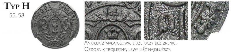 10 fenigów 1920 Gdańsk Typ H