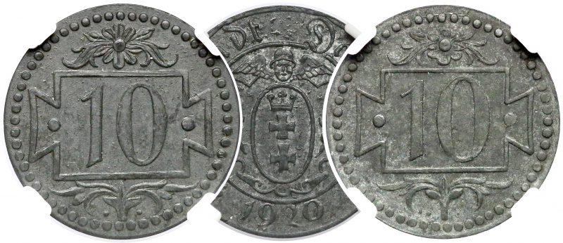 Wspólny awers 10 fenigów 1920 Gdańsk