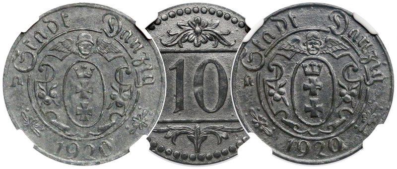 Wspólny rewers 10 fenigów 1920 Gdańsk