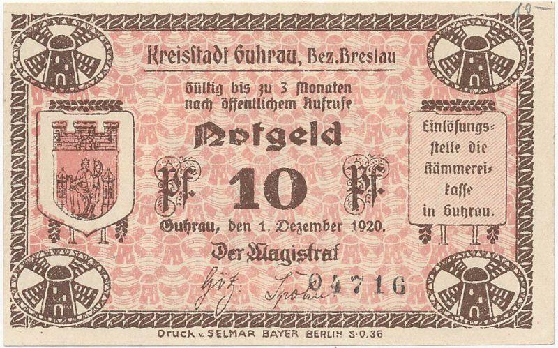 Notgeld 10 fenigów 1920 magistratu w Górze
