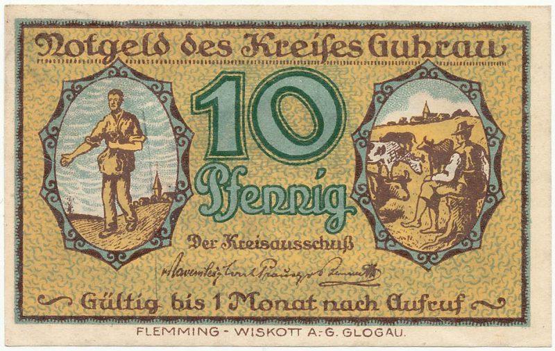 Awers notgelda 10 fenigów 1920 powiatu Góry bez oznaczenia serii i numeru