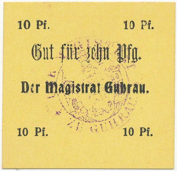 Notgeld 10 fenigów magistratu w Górze ze skrótem Pf