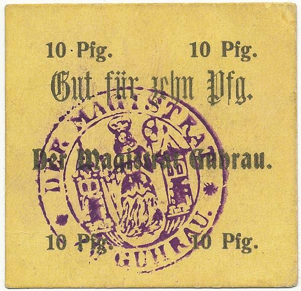 Notgeld 10 fenigów magistratu w Górze ze skrótem Pfg