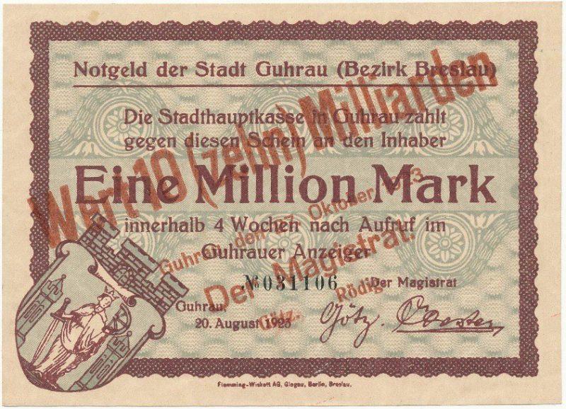 Notgeld 10 miliardów marek 1923 magistratu w Górze z przedrukiem