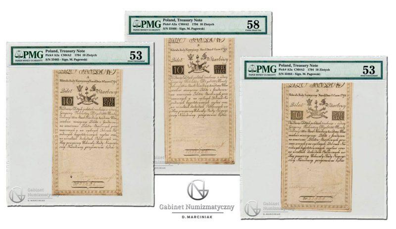 Banknoty 10 złotych 1794 Insurekcji z kolejnymi numerami w ocenach PMG
