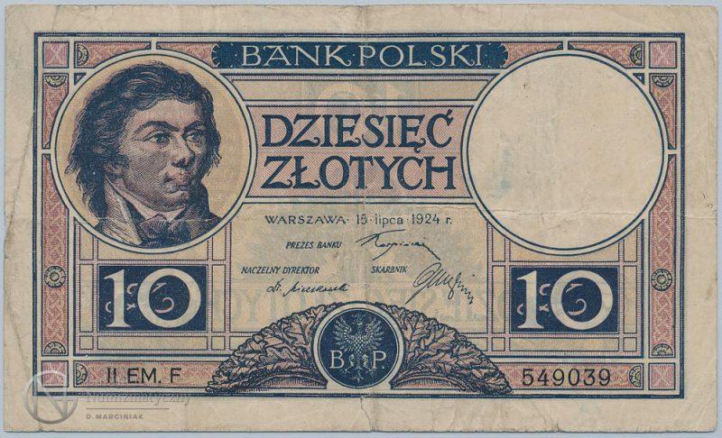 Awers banknotu 10 złotych 1924