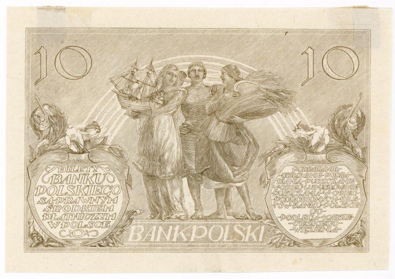 Próba kolorystyczna 10 banknotu 10 złotych 1926