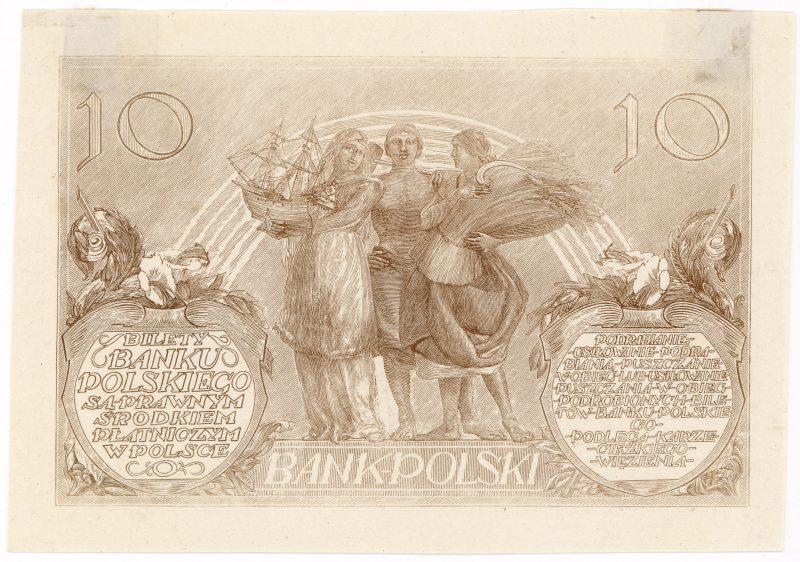 Próba kolorystyczna 11 banknotu 10 złotych 1926