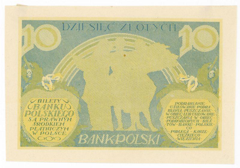 Próba kolorystyczna 14 banknotu 10 złotych 1926