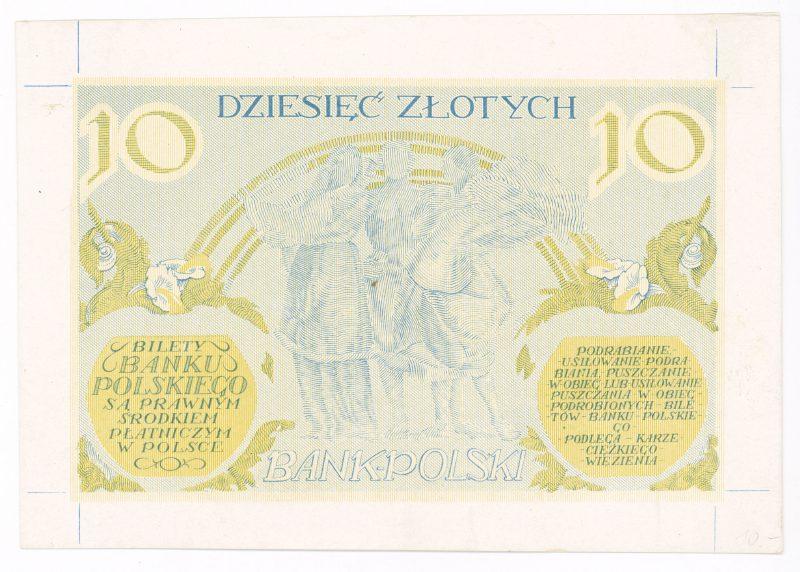 Próba kolorystyczna 15 banknotu 10 złotych 1926