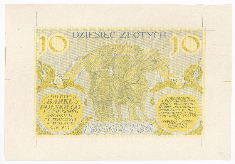 Próba kolorystyczna 16 banknotu 10 złotych 1926