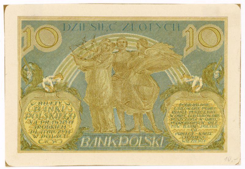 Próba kolorystyczna 17 banknotu 10 złotych 1926