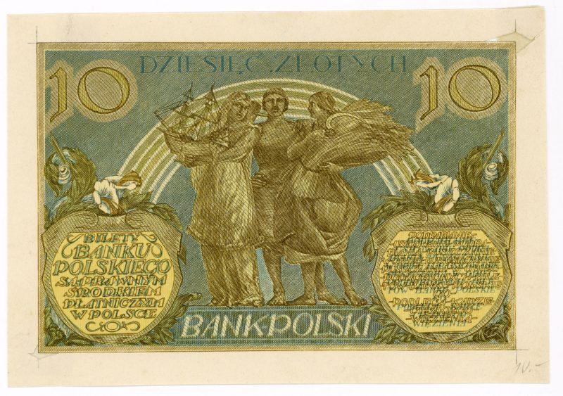 Próba kolorystyczna 18 banknotu 10 złotych 1926