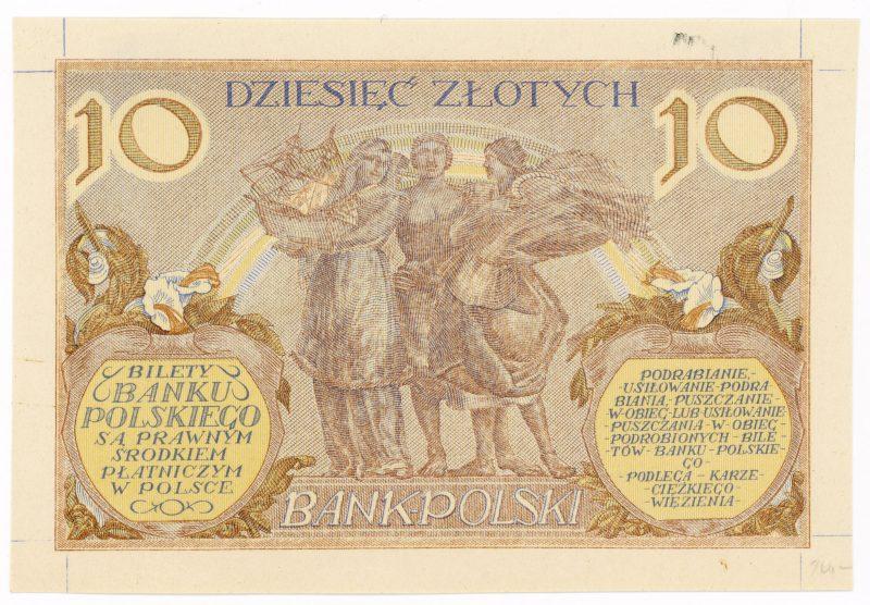 Próba kolorystyczna 19 banknotu 10 złotych 1926