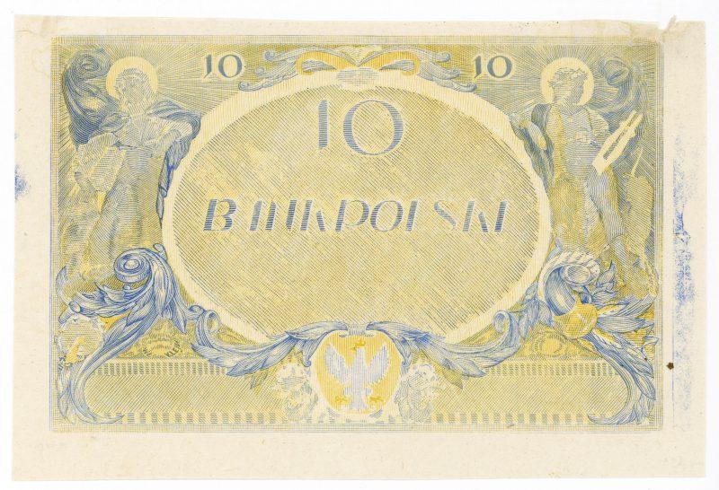 Próba kolorystyczna 2 banknotu 10 złotych 1926
