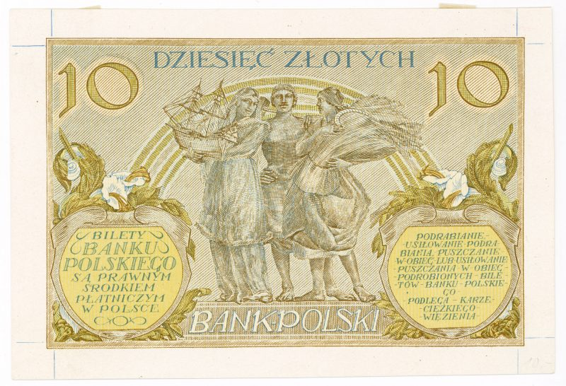 Próba kolorystyczna 20 banknotu 10 złotych 1926