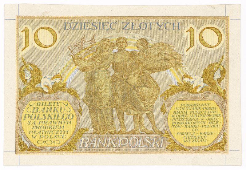 Próba kolorystyczna 21 banknotu 10 złotych 1926