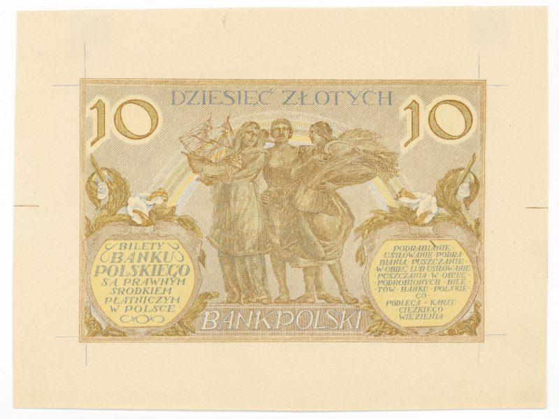 Próba kolorystyczna 22 banknotu 10 złotych 1926