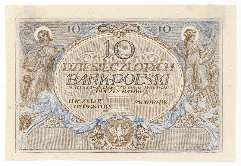 Próba kolorystyczna 3 banknotu 10 złotych 1926