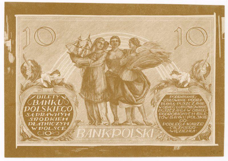 Próba kolorystyczna 6 banknotu 10 złotych 1926