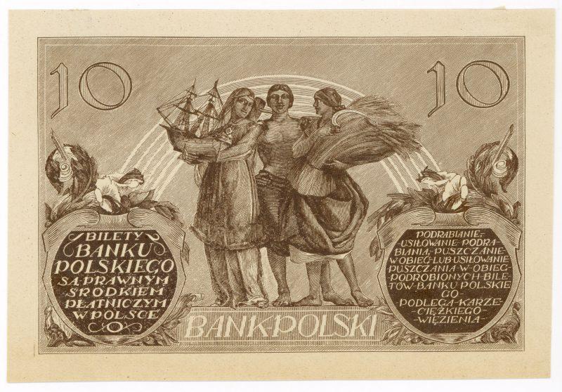 Próba kolorystyczna 7 banknotu 10 złotych 1926
