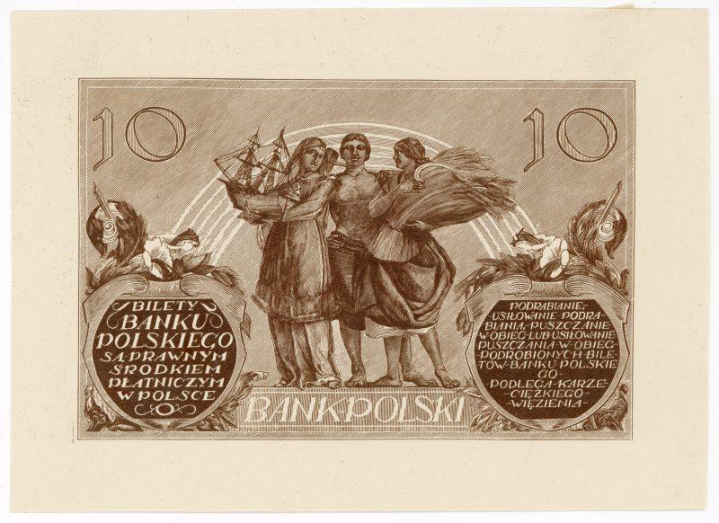 Próba kolorystyczna 8 banknotu 10 złotych 1926