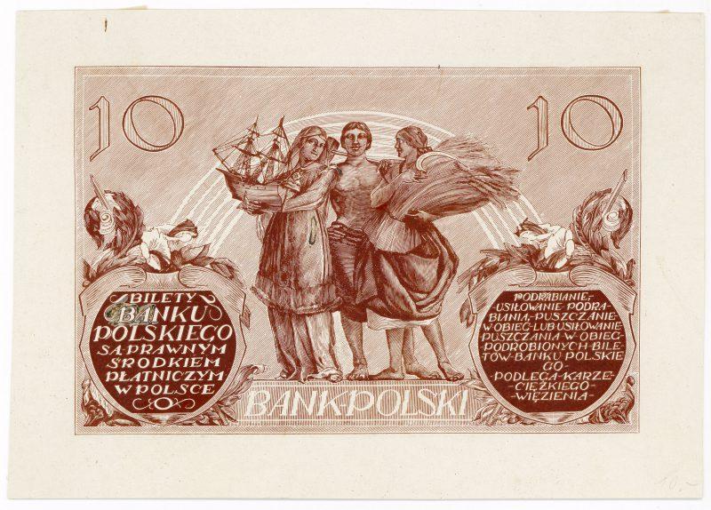 Próba kolorystyczna 9 banknotu 10 złotych 1926