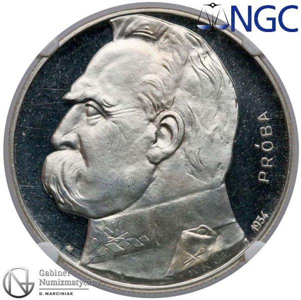 Awers próby 10 złotych 1934 z Józefem Piłsudskim Orzeł Strzelecki bitej stemplem lustrzanym
