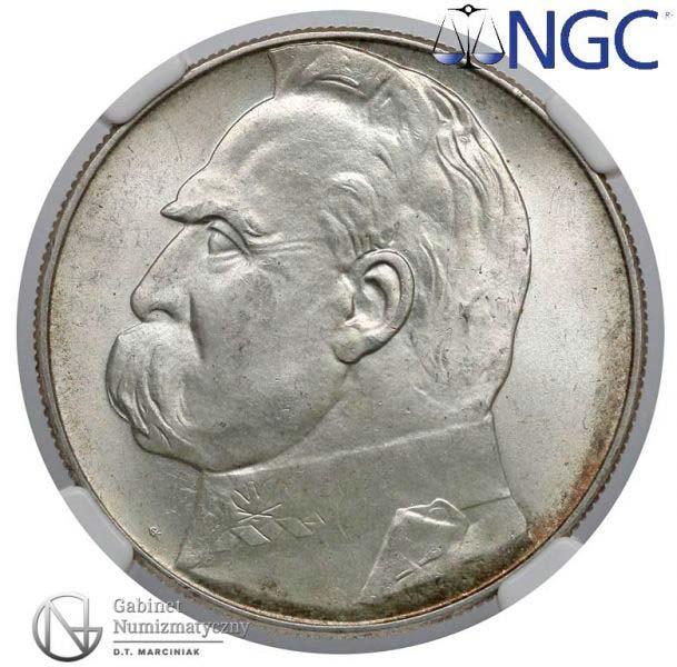 Awers próby 10 złotych 1934 z Józefem Piłsudskim bitej stemplem zwykłym